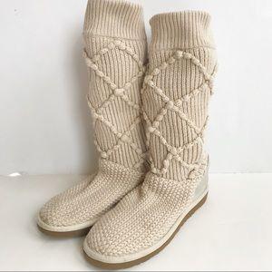 Cream Argyle Knitted Uggs
